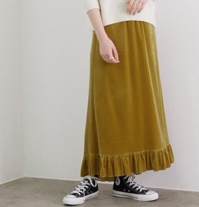 ROPE' mademoiselleフリルヘムベロアロングスカート