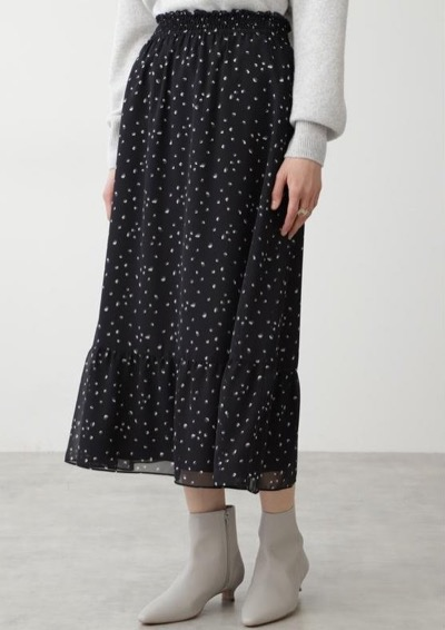 HUMAN WOMAN シフォンプリントスカート