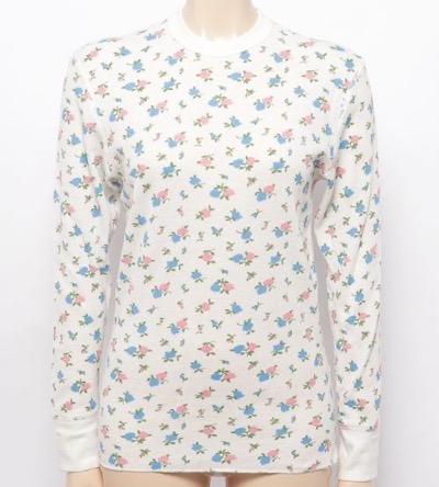 HealthKnit ベーシックワッフル花柄クルーネック長袖Tシャツ