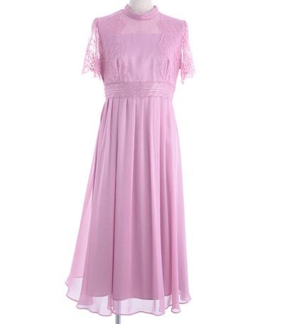カレットレースセミロングドレス