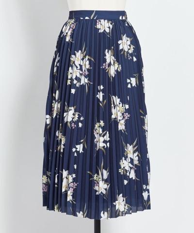 Noela(ノエラ)プリーツラインフラワースカート