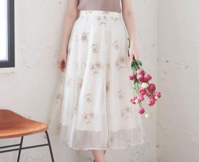 Noela(ノエラ)配色刺繍チュールスカート