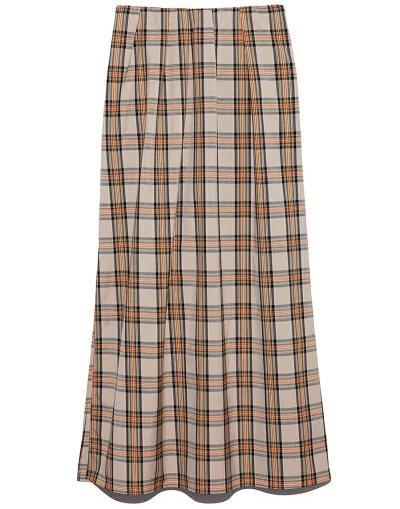 FURFURチェックロングスカート