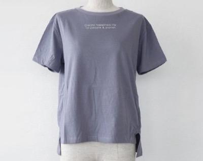BRAHMINロゴ Tシャツ コットン 半袖 サイドスリット FOOD TEXTILE