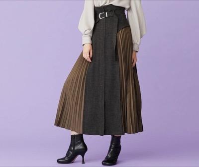 INellaサイドプリーツハイウエストスカート