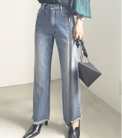 AMERI ZIPPER STRAIGHT DENIM