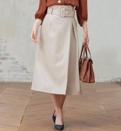 ANAYI(アナイ)エコレザーAラインスカート