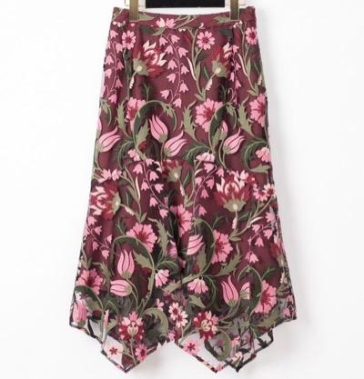GRACE CONTINENTALフラワー刺繍イレヘムスカート