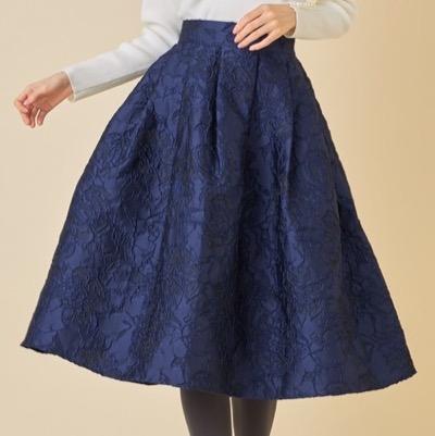 tocco closetジャガードフラワーフレアスカート