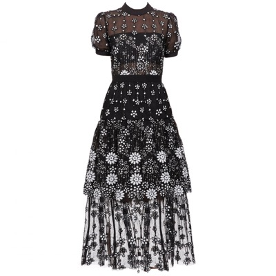ant0inette Short sleeve Female Black flower Deco Sequin Crew Neck Midi Dress