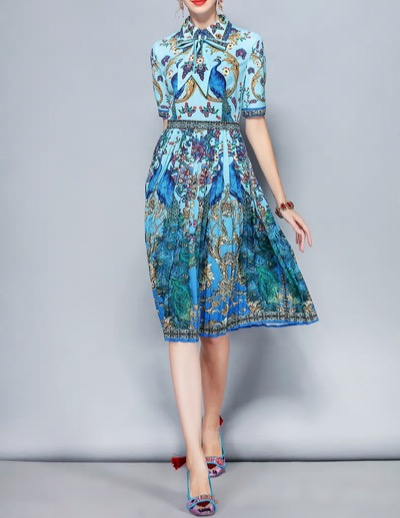 Antoinette Designer Summer Dress Women's Bow Collar Elegant Animal Floral Print Pleated Vintage Dress
