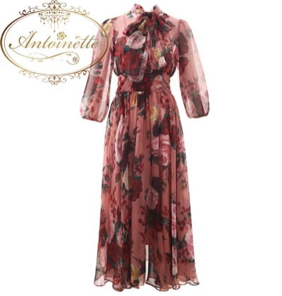 Runway dress Spring Summer Women Pink Dress Bow collar Rose Floral-Print Elegant Chiffon Dresses Runway dress Spring Summer Women Pink Dress Bow collar Rose Floral-Print Elegant Chiffon Dresses