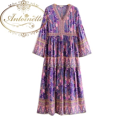 Antoinette  Bohemia V neck Purple Leaves Floral print Dress