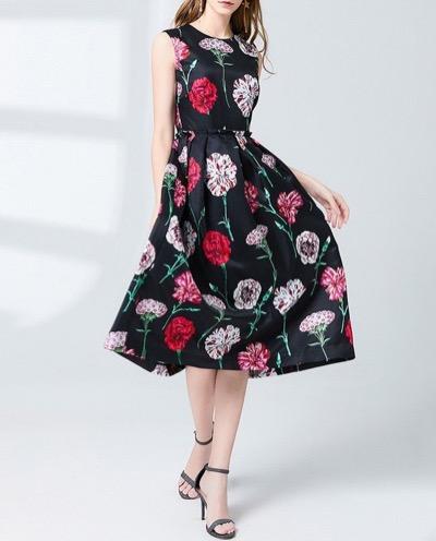 Antoinetteレディース カーネーション ノースリーブ フォーマル セミフォーマル ドレス ワンピース 花柄