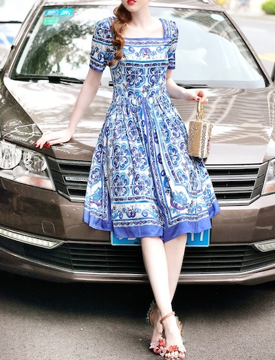 Antoinette総柄 半袖 リゾート パーティー ドレス