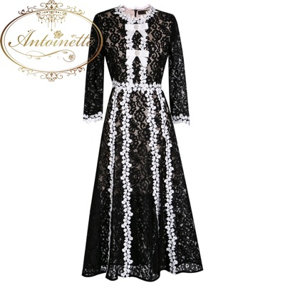 Antoinette Spring Summer Women Dress Lace Elegant Black Dresses