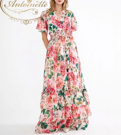 Antoinette Women Dress V-neck Flare Sleeve Floral-Print Elasticated waist Cascading Ruffle Vacation Maxi Dresses