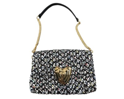 ESCADA Heart Multicolor Tweed Shoulder Bag