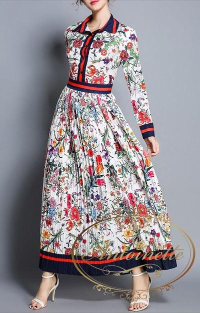 Antoinetteレディース ロング丈 花柄 夏 サマー 秋 華やか 大人 パーティー おでかけ デート 衣装 提供 ワンピース 長袖