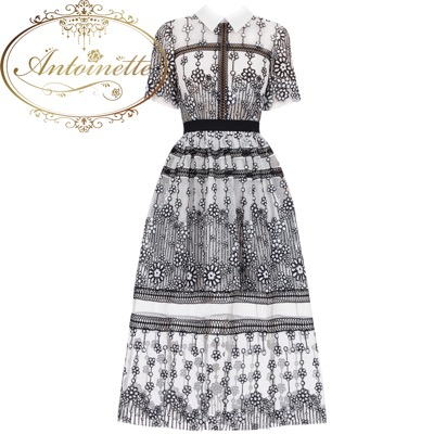Antoinetteシースルー フラワー ワンピース 刺繍 エレガント かわいい 春 夏 チュニック