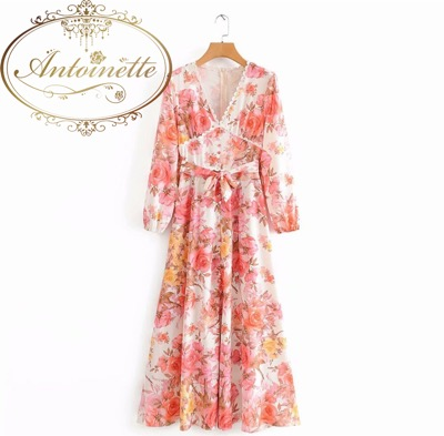 Antoinette Women Floral Print Long Maxi Dress Lady Lace Trim V Neck Long Sleeve Sashes