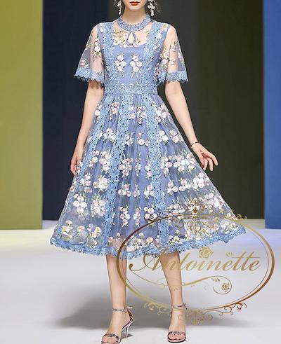 Antoinette花柄 シースルー ワンピース 刺繍ドレスワンピース
