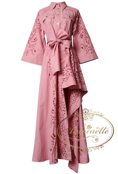 Antoinetteワンピース ロング 個性的 パンチングレースドレス
