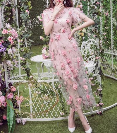 Antoinette花柄 春物 ワンピース 可愛い ピンク S M L XL ロングワンピース