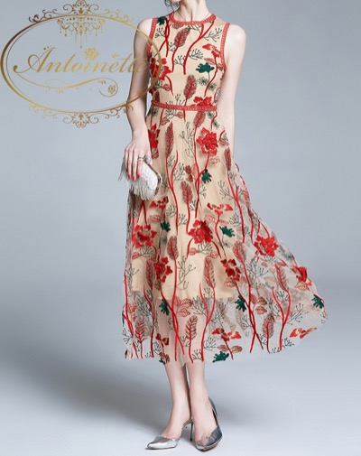 Antoinetteボタニカル ワンピース ノースリーブ レッド レディース 刺繍 Long one-piece Botanical Red vintage