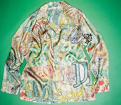 DIORxSHAWN STUSSY シルク ロゴプリント シャツ