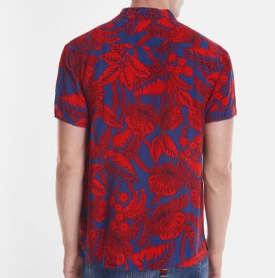 Desigualred-and-blue Hawaiian shirt