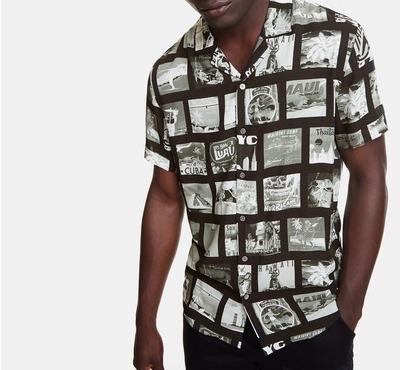 Desigual半袖ブラックシャツ、フォトポストカード柄
