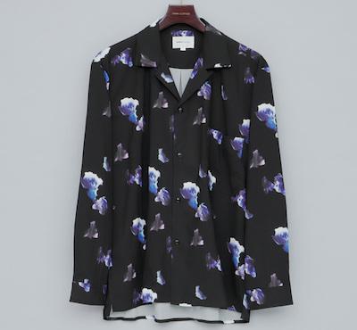 EMMA CLOTHESダークフラワービッグシルエットオープンカラーシャツ L/S
