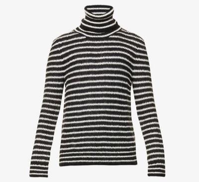 SAINT LAURENTタートルネックセーター(モヘア/ストライプ)