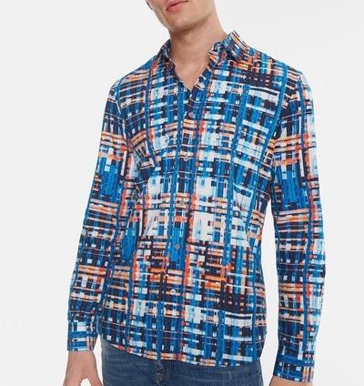 Desigualマルチカラージャカード製ストライプブルーシャツ