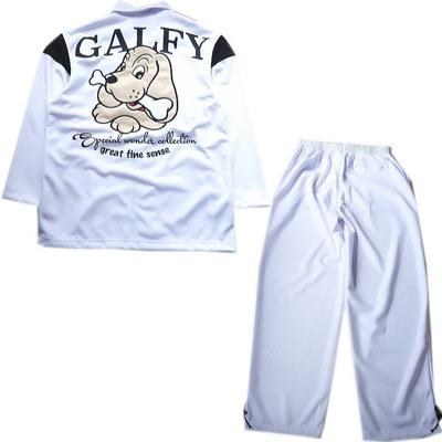 GALFY人気キャラアップリケ刺繍 豹柄 光沢ジャージ ZIP 長袖長パンツ上下セットアップスーツ