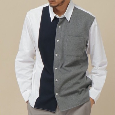 ikkaオックスポンチ切り替えシャツ