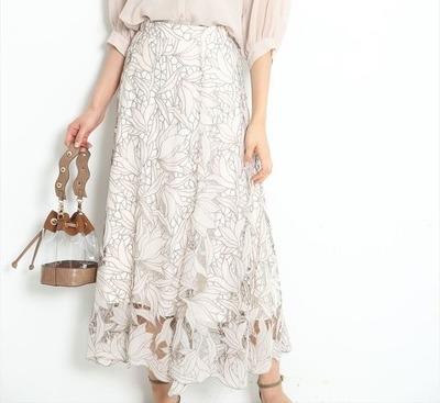 JUSGLITTYレース刺繍フレアスカート