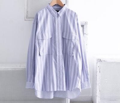 EKALストライプレイクショアシャツ