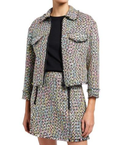 Emporio Armani Zip-Front Multicolor Tweed Jacket