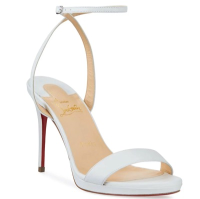 Christian LouboutinLoubi Queen Red Sole Ankle-Wrap Sandals WHITE