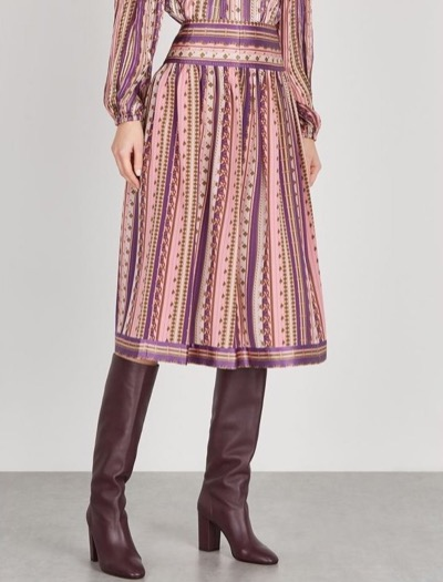 Tory BurchPrinted Silk Crepe De Chine Skirt