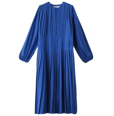 LE CIEL BLEUプリーテッドカラーレスドレス