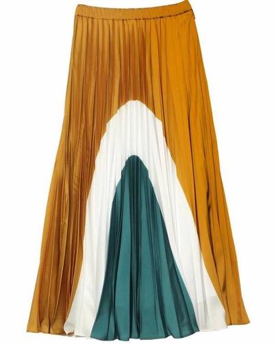 UN3D.ブロッキングプリーツスカート