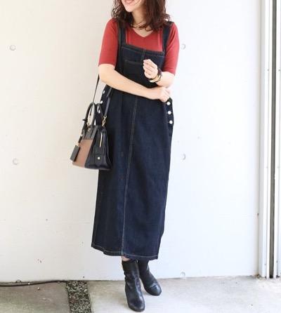 Milk teaボクシーデニムサロペットスカート