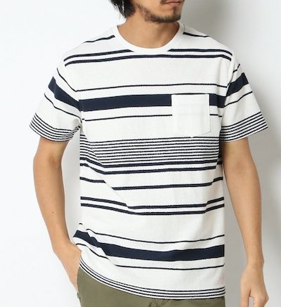 ikka梨地ボーダーTシャツ