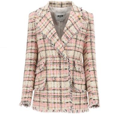 MSGM Tartan Tweed Blazer