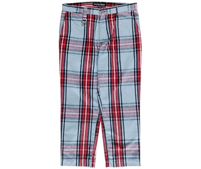 ROLLING CRADLE CHECK CROPPED PANTS BLUE