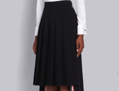 THOM BROWNE ブラック ウール シアサッカーフィニッシュ プリーツスカート