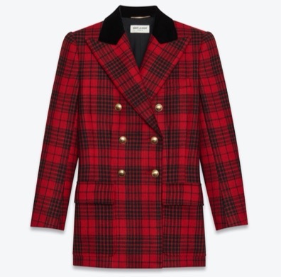 SAINT LAURENT DOUBLE-BREASTED JACKET IN PRINCE OF WALES WOOL TARTAN